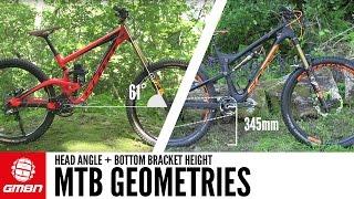 الدراجة الهندسة - زاوية الرأس و أسفل قوس الارتفاع شرح
