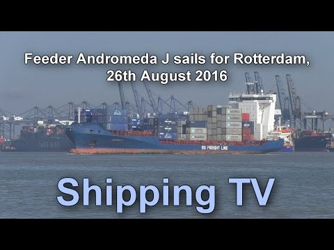 Feeder Andromeda J sails towards Rotterdam, 26 August 2016