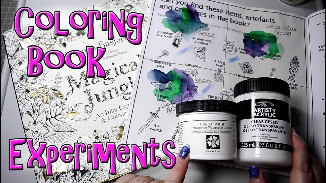 Coloring Book Tests With Gesso And Watercolor Ground Magical