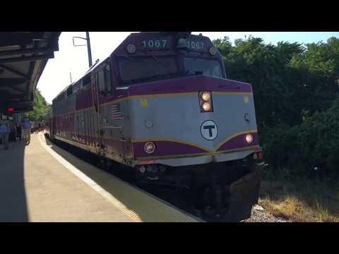 2 MBTA Commuter Rail trains at East Weymouth, MA 7/13/16