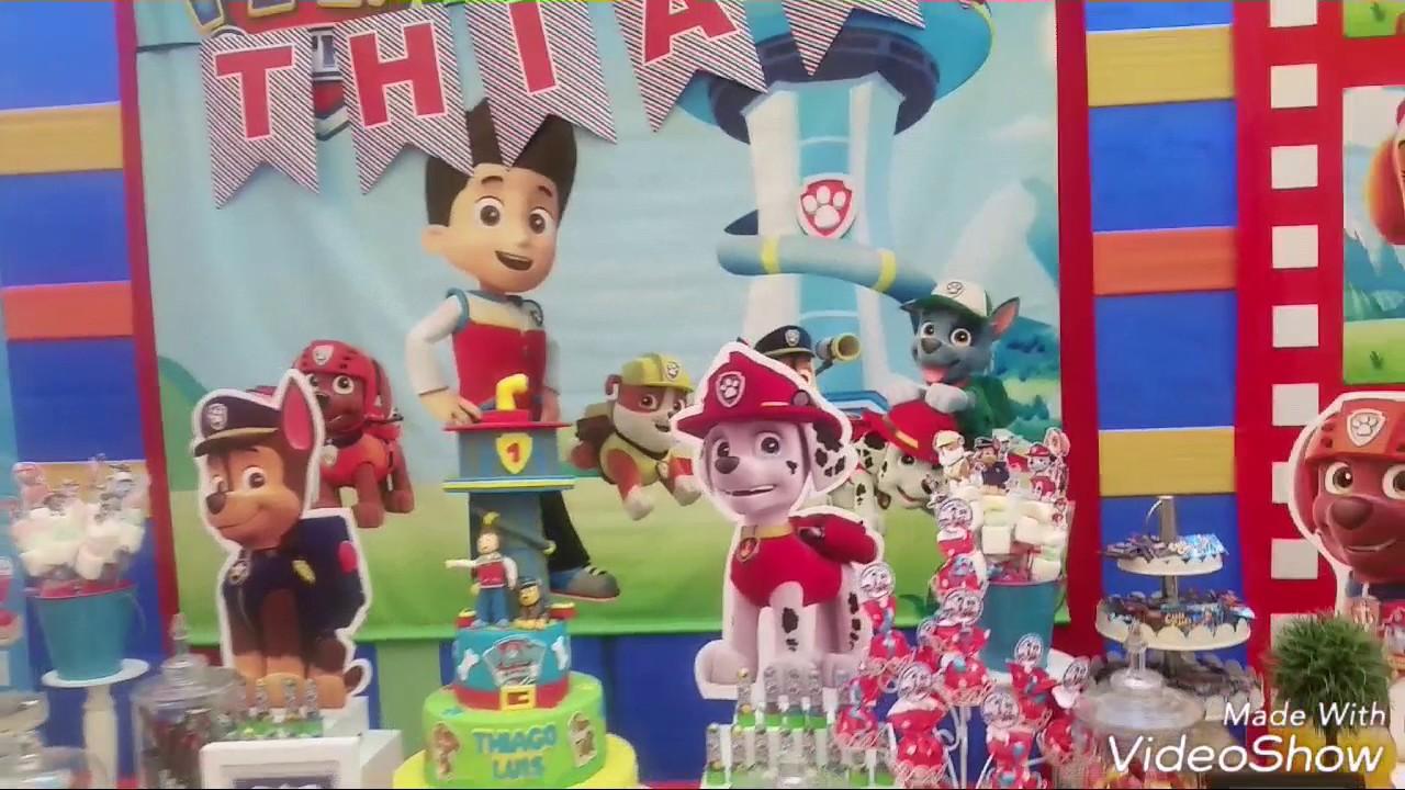 Decoraci n mesa de dulces paw patrol youtube for Decoracion para mesa dulce