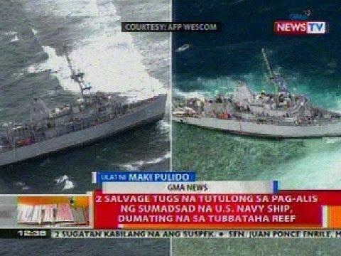 BT: 2 salvage tugs na tutulong sa pag-alis ng US Navy ship, dumating na sa Tubbataha Reef