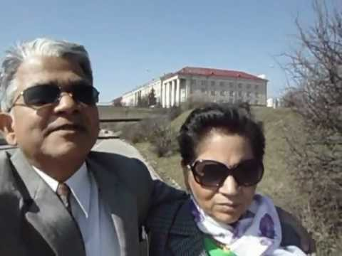 Hari & Aruna Sharma walking in Vilnius downtown Neris riverside April 12, 2012.AVI