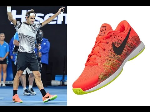 Federer's Shoes From His 2017 Australian Open Victory!!!!  Nike Zoom Vapor Flyknit Hyper Orange.