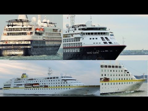 Two cruise ships leaving Dublin port Silver Cloud and HAMBURG