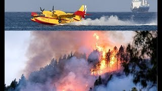 Firefighting aircrafts fight the blazes in Gran Canaria, 2019 (forest fire)