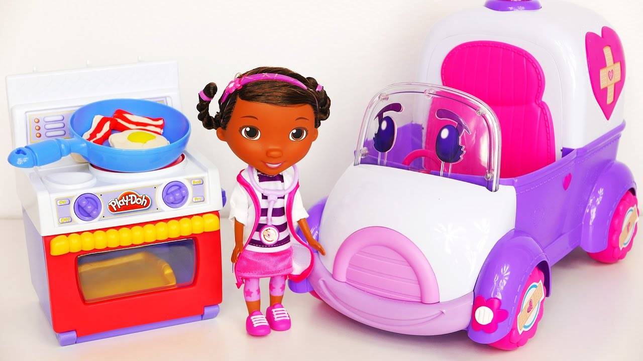 play doh kitchen oven and cooking breakfast with doc mcstuffins and