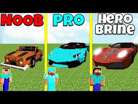 Minecraft Battle: NOOB vs PRO vs HEROBRINE: CAR BUILD CHALLENGE / Animation