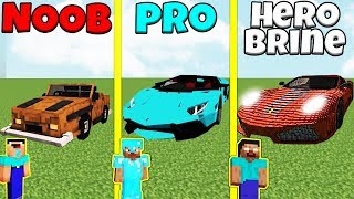 Minecraft Battle: NOOB vs PRO vs HEROBRINE: CAR BUILD CHALLENGE / Animation