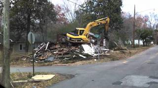 Demolition of House - Tearing a House Down - Heavy Equipment