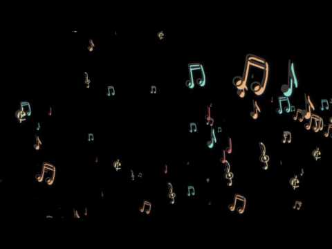 Music Notes floating from the side (black background) Particular - free motion graphics