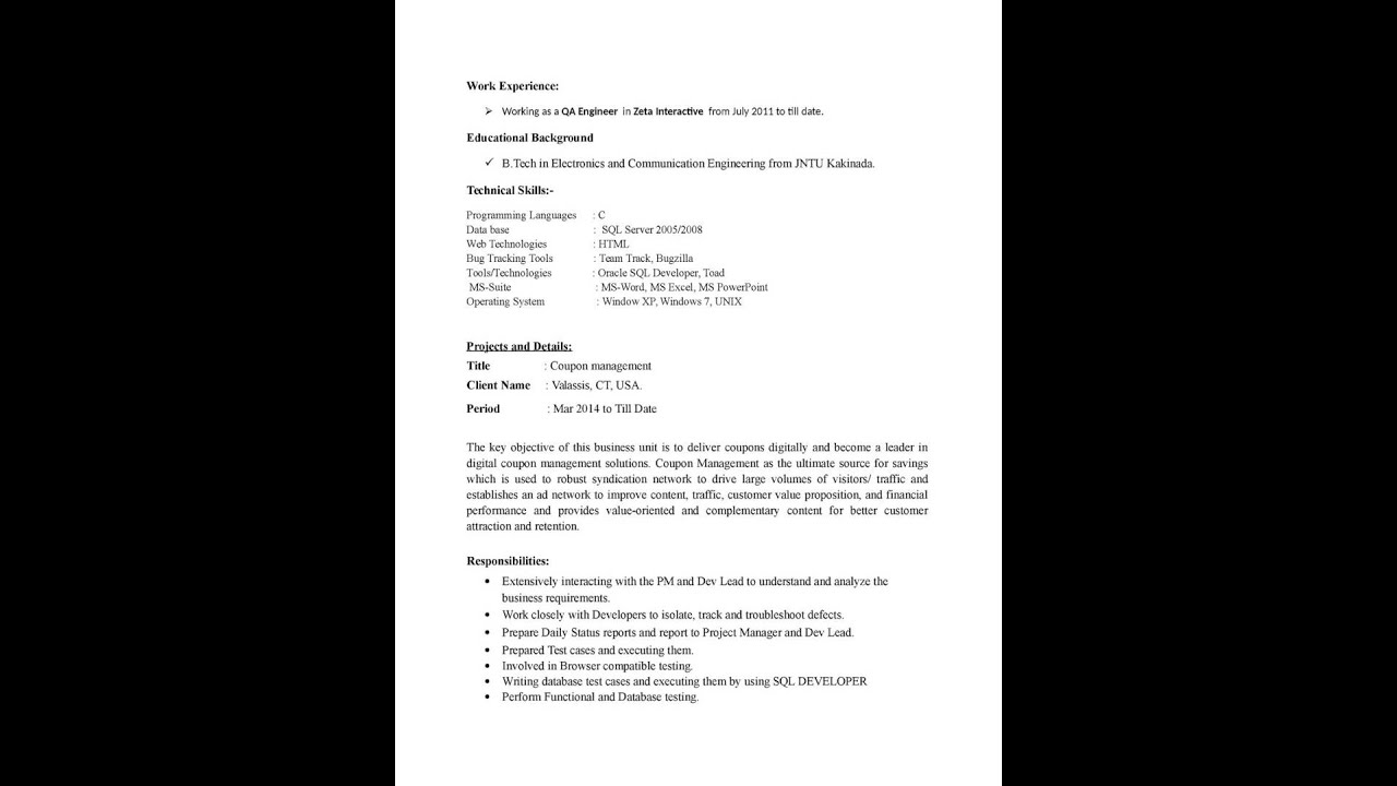 Resume 1 Year Experience Resume Format For Manual Testing sample manual testing resume youtube resume