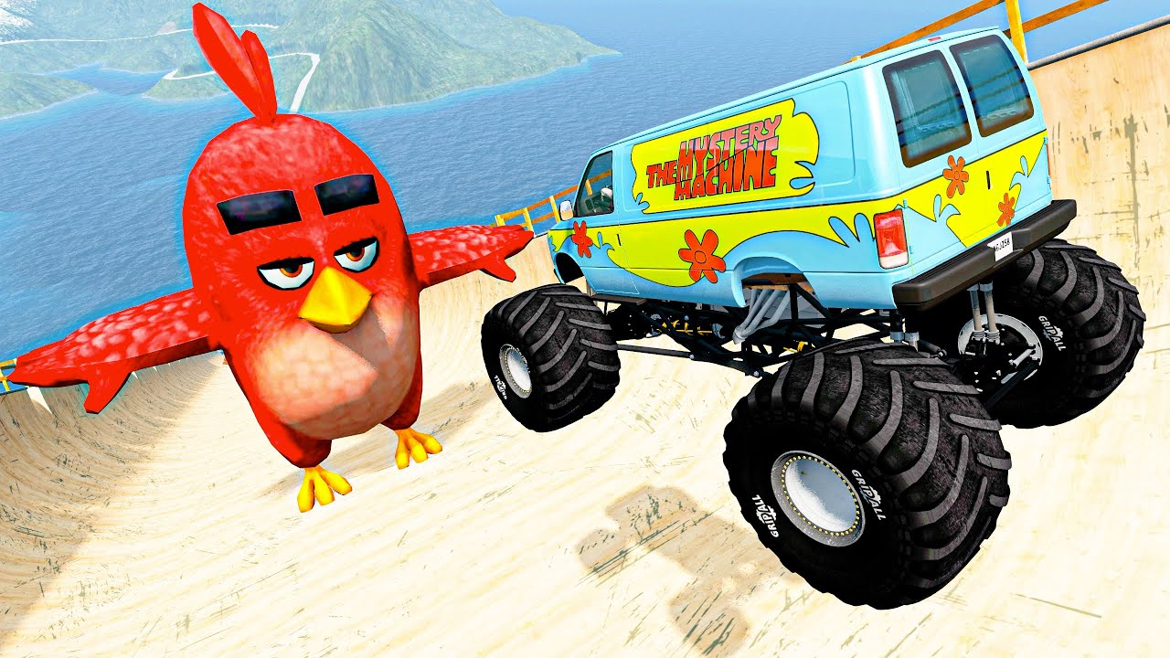 BeamNG Drive Fun Madness #50 - Crazy Vehicle High Speed Jumps & Crashes Over Giant Red Angry Birds