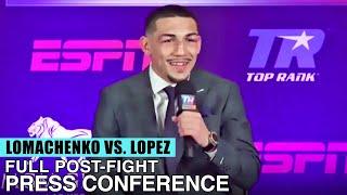 TEOFIMO LOPEZ FULL POST FIGHT PRESS CONFERENCE VS VASYL LOMACHENKO (LOMACHENKO VS LOPEZ )