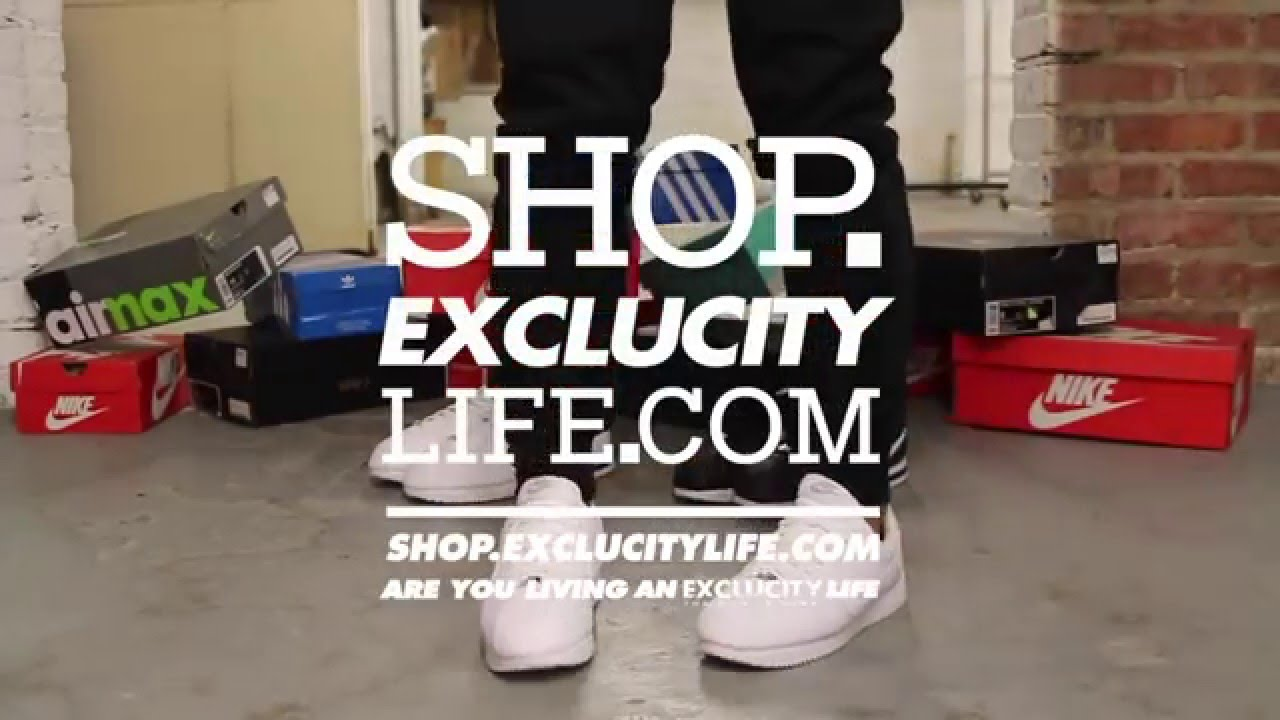 Nike Cortez Leather , White , White On,feet video at Exclucity