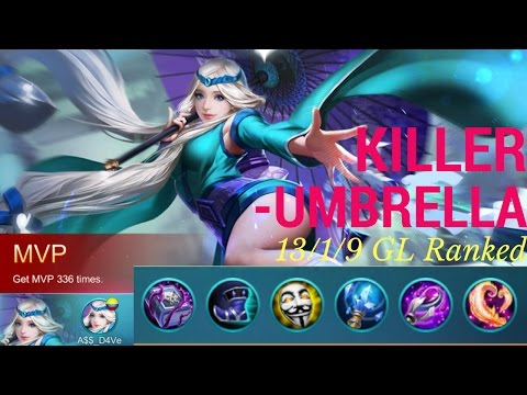 Killer Umbrella! Mobile Legends Kagura 13/1/9 Glorious Legend Ranked Gameplay with Commentary