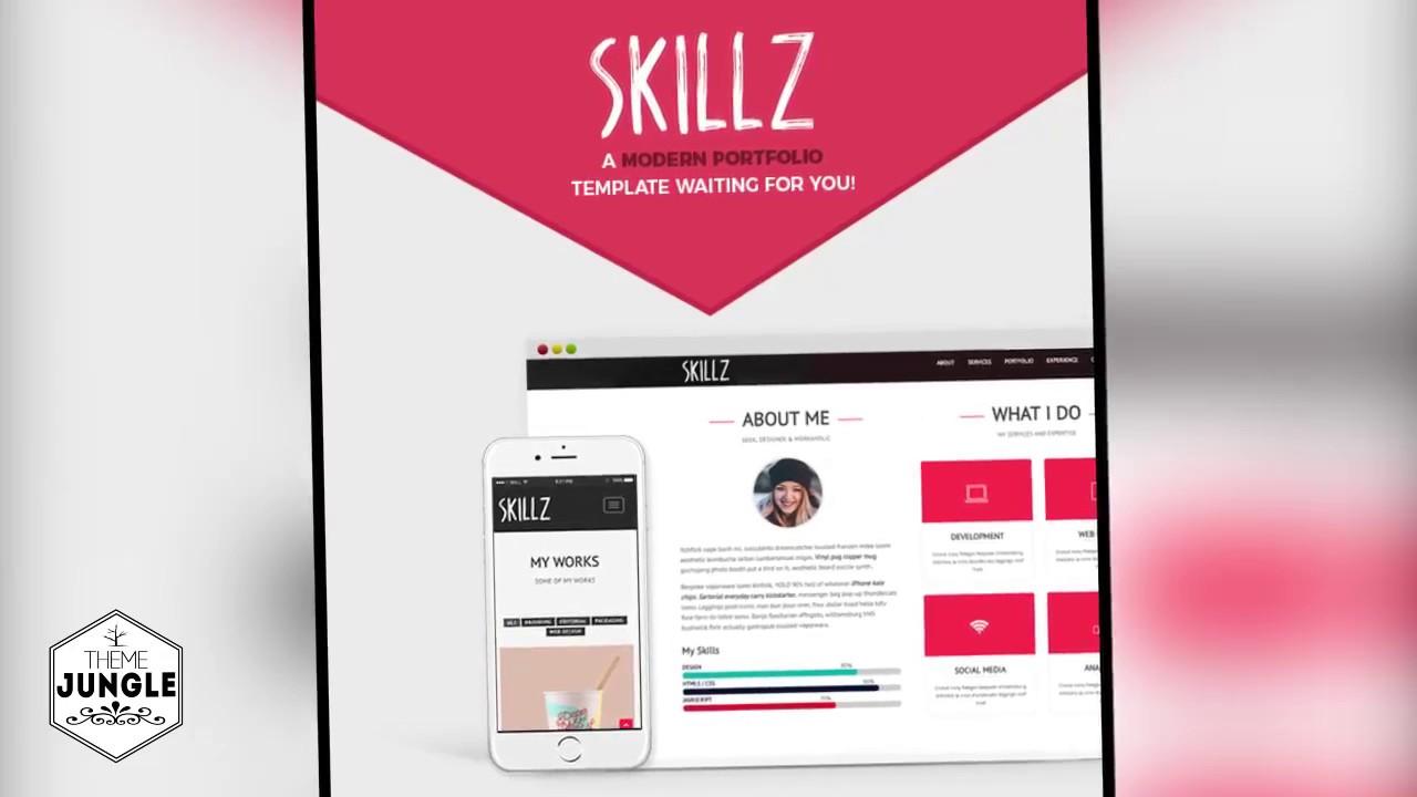Skillz Resume Cv And Portfolio Wordpress Theme Download Youtube