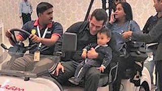 Salman Khan With Ahil At Airport - Cute Moment