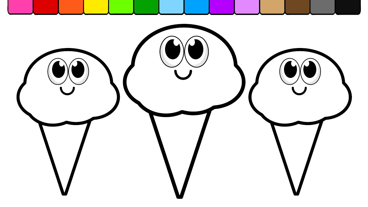 Learn Colors for Kids with this Ice Cream Coloring Page 01 - YouTube