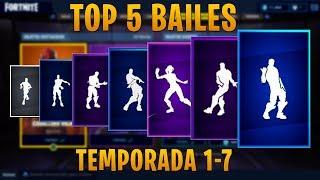 TOP 5 MEJORES BAILES de CADA TEMPORADA en Fortnite: Battle Royale! (Temporada 1-7) - byReaper