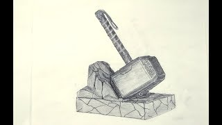 How To Draw Thor's Hammer - 3D Look - Sketch On Paper