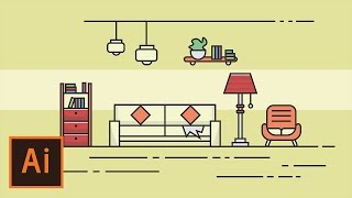 Illustrator Tutorial - Living Room Flat Design (Illustrator Flat Design Tutorial)