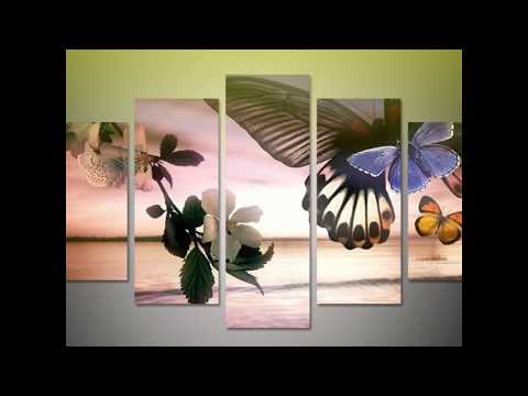 Framed 5 Piece Modern Butterfly Canvas Wall Art Sets