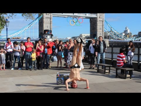 Dancing in London during the Olympics in Budgy Smugglers  Spandy Andy