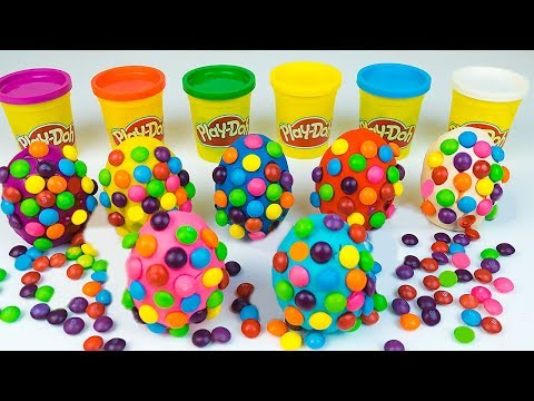 M&M's Play Doh Surprise Eggs Skittles Kinder Surprise made of Play Dough