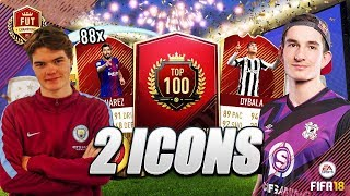 2 ICONS AND 88 RED INFORM PLAYERS!! TOP 100 FUT CHAMPIONS REWARDS WITH MANCHESTER CITY MARCUZO!!