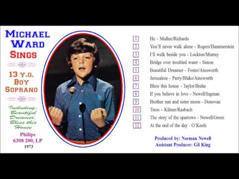 Michael Ward, boy soprano, sings You'll never walk alone, from vinyl LP, 1973