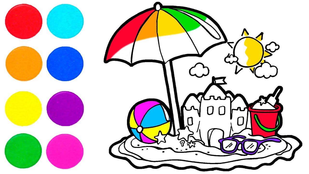 Dibuja y Colorea LA PLAYA ⛱️🎨 Dibujos para niños