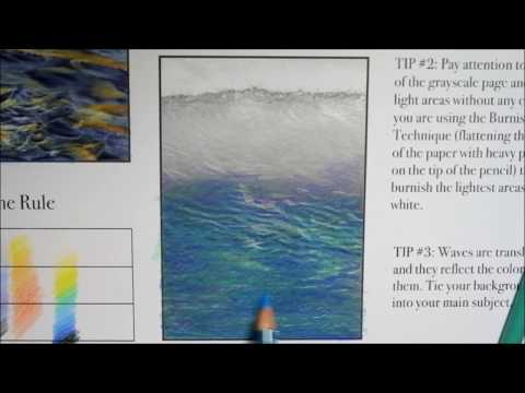 How to Color Grayscale Water: Color-Along #2 - Big Waves