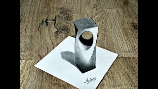 How To Draw 3D Holey Object - 3D Trick Art On Paper - Anamorphic Illusion - Art Maker Akshay