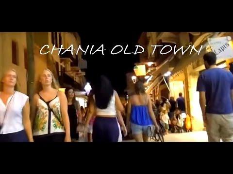 CHANIA OLD TOWN WALKING AT NIGHT