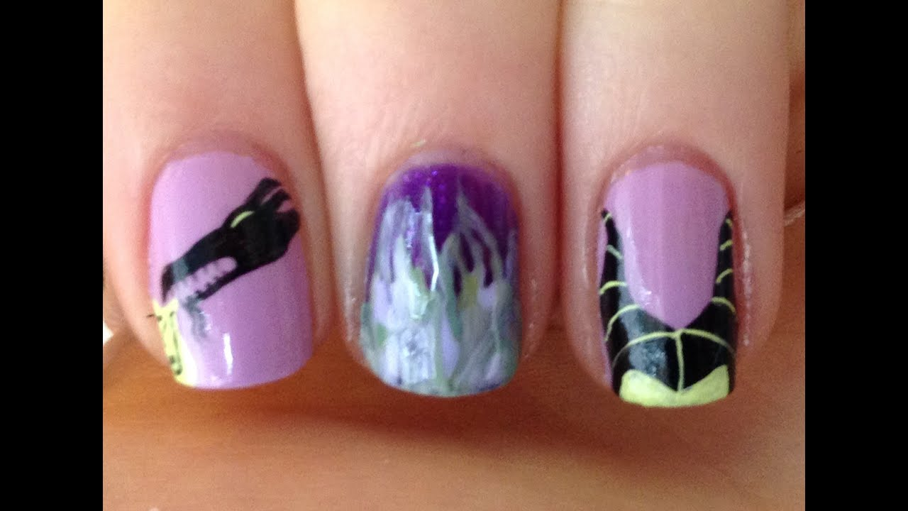 Disney Villains ~ Maleficent Nail Art Tutorial - YouTube