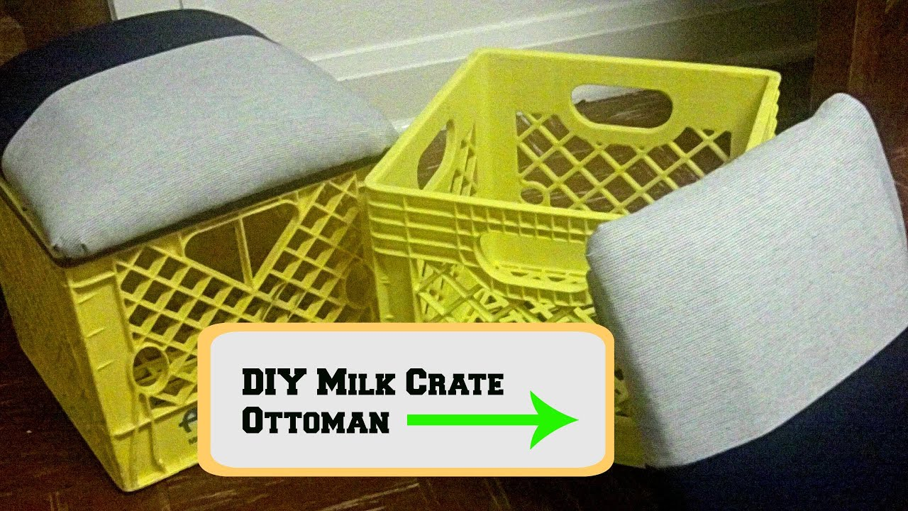 Diy milk crate ottoman youtube for What to do with milk crates
