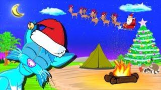 Christmas Lullaby Cartoon For Kids To Go To Sleep Campfire Sky Blue Cat Lullabies