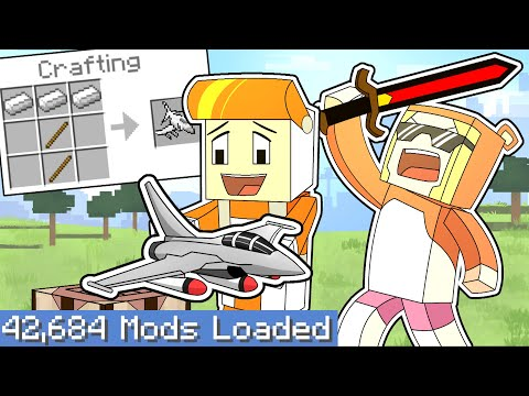 Minecraft Speedrunner vs HUNTER but every crafting recipe is RANDOM (largest modpack)