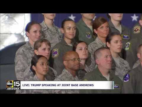 LIVE: President Trump speaks to military personnel at Joint Base Andrews