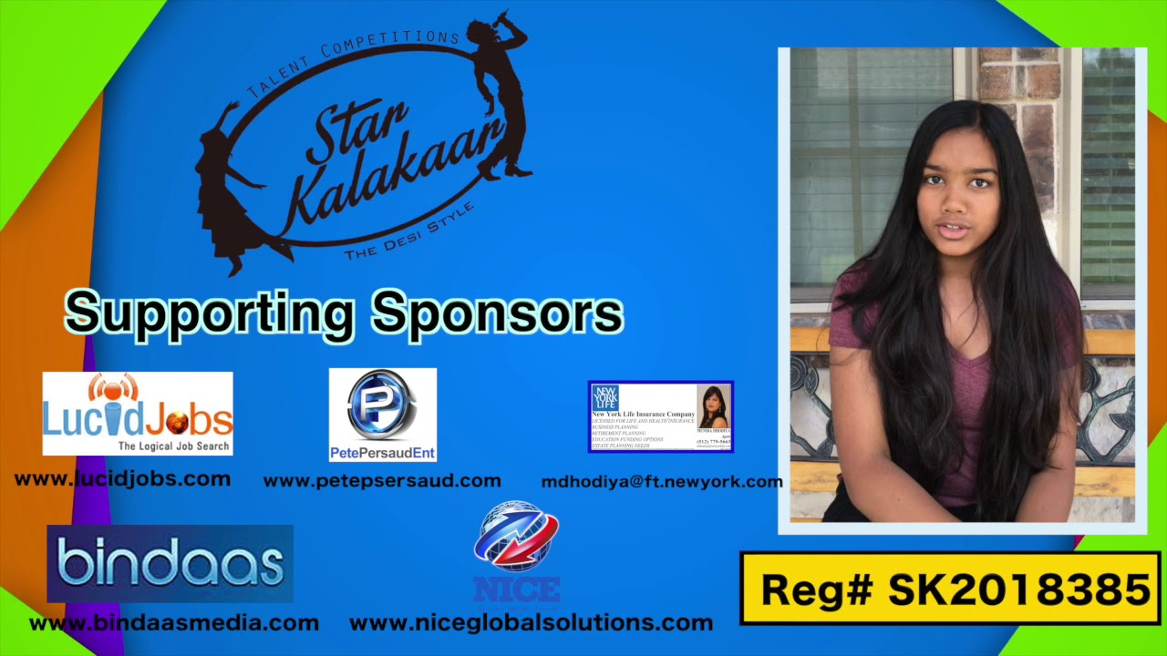 Participant Reg# SK2018-385 Introduction - US Star Kalakaar 2018 || DesiplazaTV