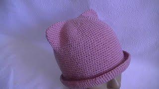 Вязание летней шляпки с ушками.Вяжем на обьем головы 52-54см.