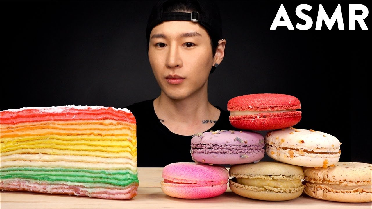 Asmr Crepe Cake Macarons Mukbang No Talking Unboxing Eating Sounds Zach Choi Asmr