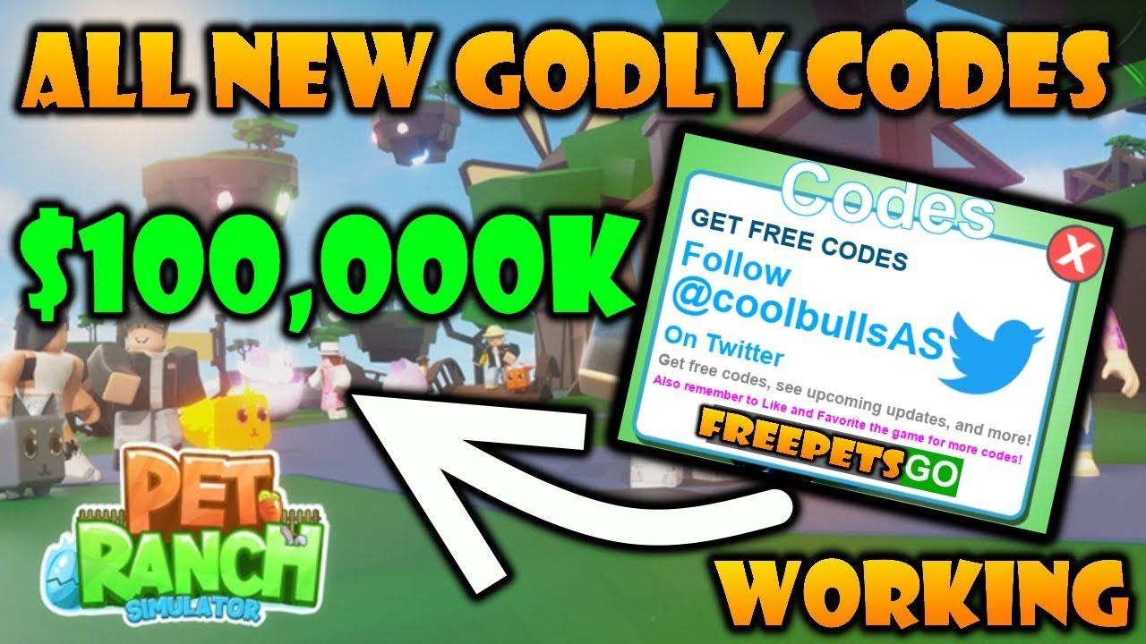 codes for pet ranch simulator roblox
