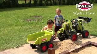 Šlapací traktor Claas Axos s přední i zadní lžící Falk 1010W