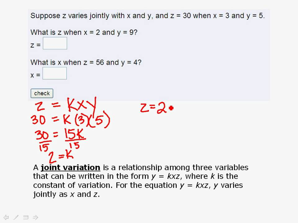 Solve using Joint Variation - YouTube