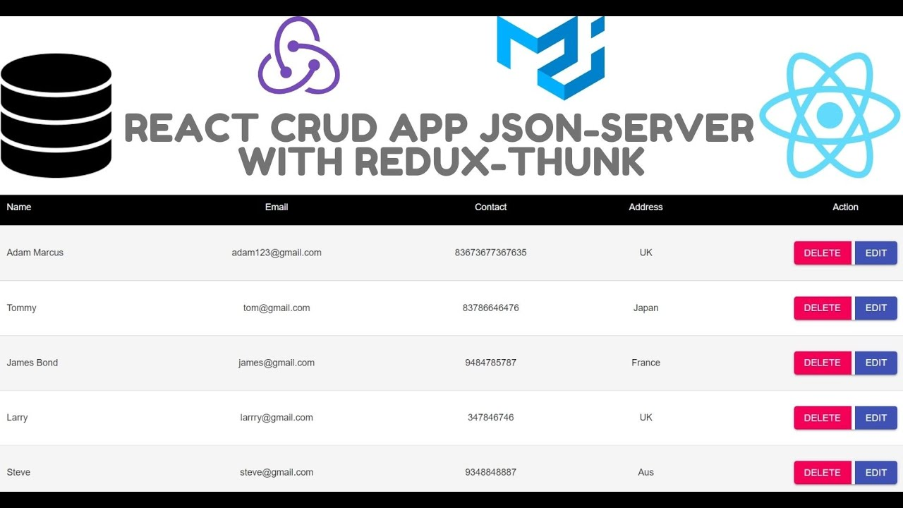 React Redux Crud App using Material-UI  | GET, PUT, POST, DELETE with JSON Server