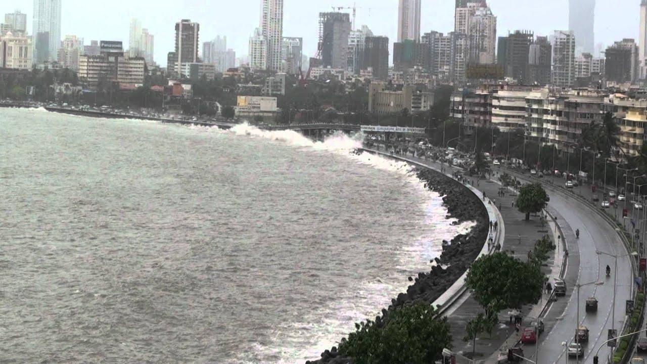Hd Wallpaper Monsoon Mumbai Marine Drive 2012 July 6 High Tide Youtube