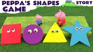 Peppa Pig Game of Shapes toy story with Play Doh Surprises