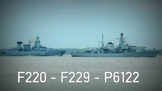 Drei Marineschiffe auf der Elbe: Fregatte Hamburg, Lancaster + Schnellboot Puma